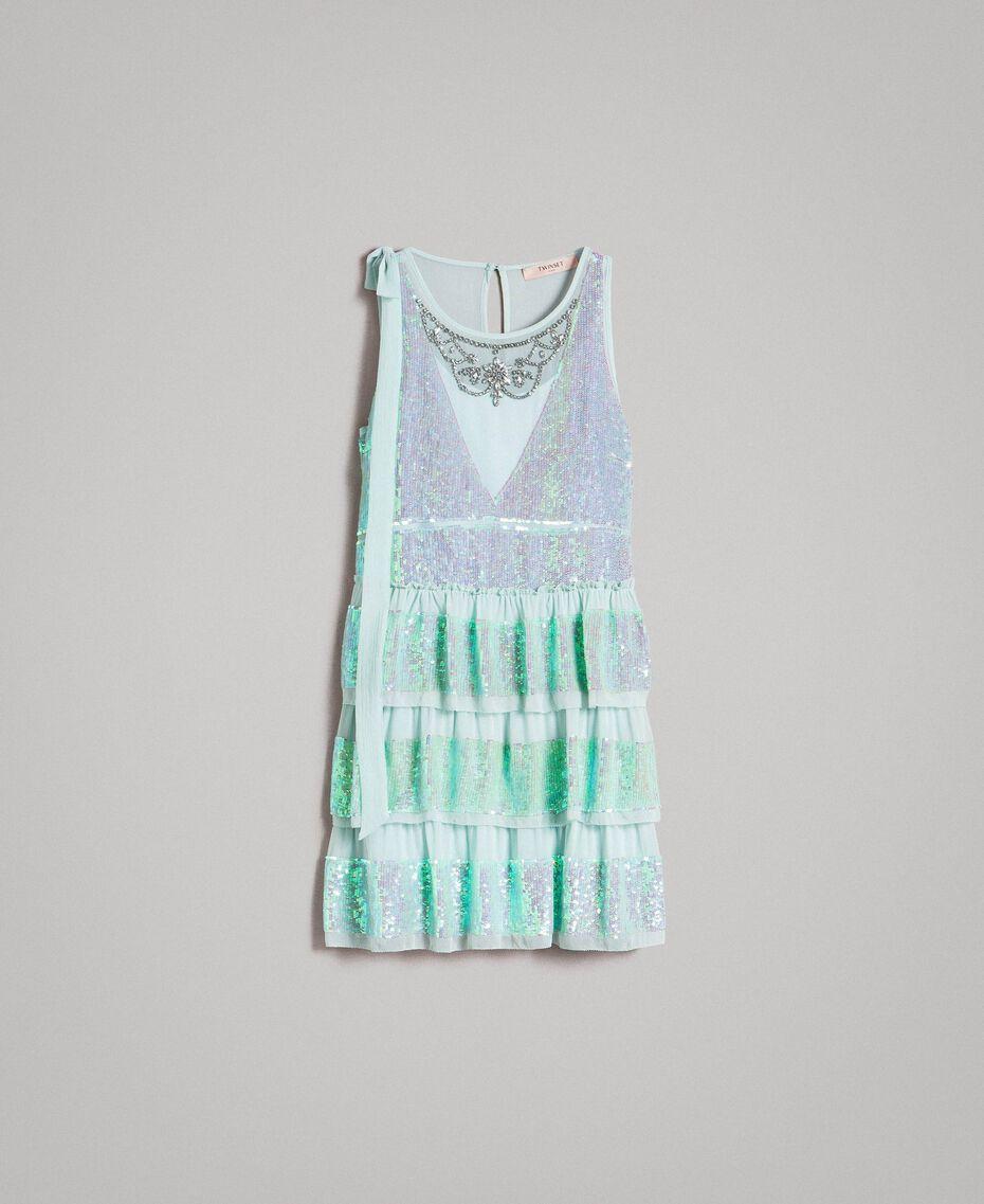 Georgette-Kleid mit Pailletten Aquamarin Frau 191TP2581-0S