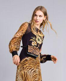 Длинное платье с комбинацией принтов Набивной Комбинированный Цветочный&Тигровый женщина TA825B-0T
