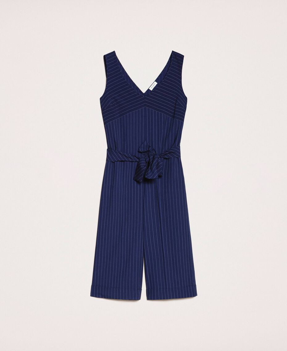 Cropped pin stripe jumpsuit with belt Midnight Blue Pin Stripe Jacquard Woman 201ST2084-0S