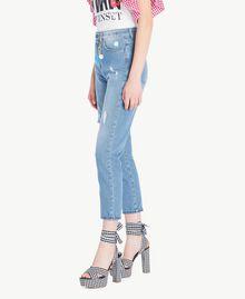 Jeans mit hoher Taille Denimblau Frau JS82WN-02