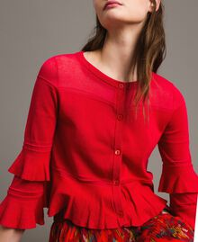 "Crêpe yarn flounced cardigan ""Lipstick Red"" Woman 191TT3020-01"