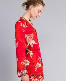 Chemise en satin floral Imprimé Jardin Rouge Femme PA829R-02