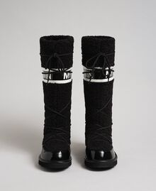Faux fur and patent leather boots with logo Black Woman 192MCT182-05