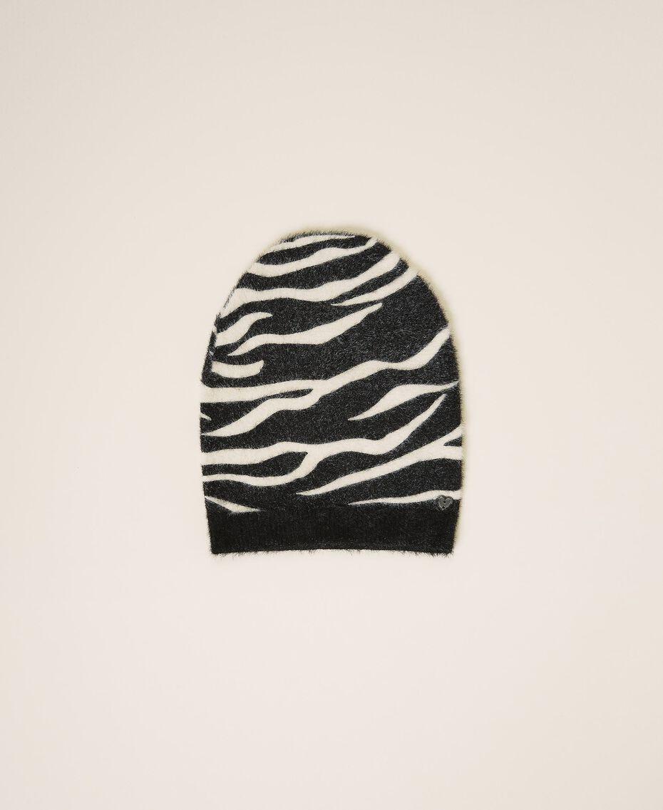 Animal print beanie Black / Cream White Zebra Print Woman 202MA4332-01