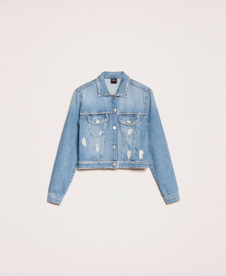 Denim jacket with rhinestones Denim Blue Woman 201MP2271-0S