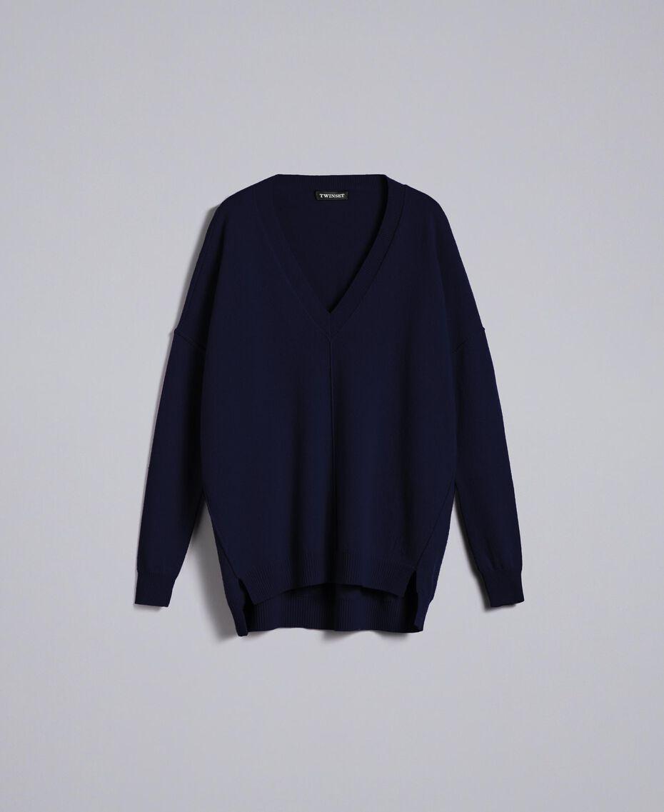 Langer Pullover aus Wolle und Kaschmir Nachtblau Frau TA83AE-0S