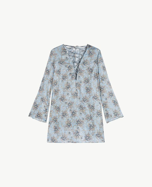 Printed kaftan Dallas Blue Paisley Print Woman BS8GKK-01