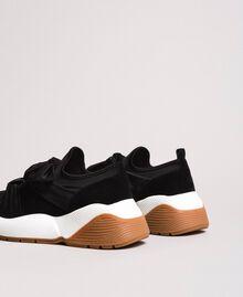 Sneakers in tessuto con maxi fiocco Nero Donna 191TCP154-02