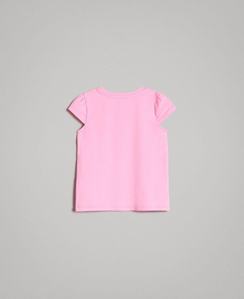 """Stretch-T-Shirt aus Baumwolle mit Strass """"Crystal Pink"""" Kind 191GB2462-0S"""