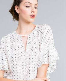 "Silk blouse with micro hearts ""Snow"" White / Black Heart Print Woman PA82N3-01"