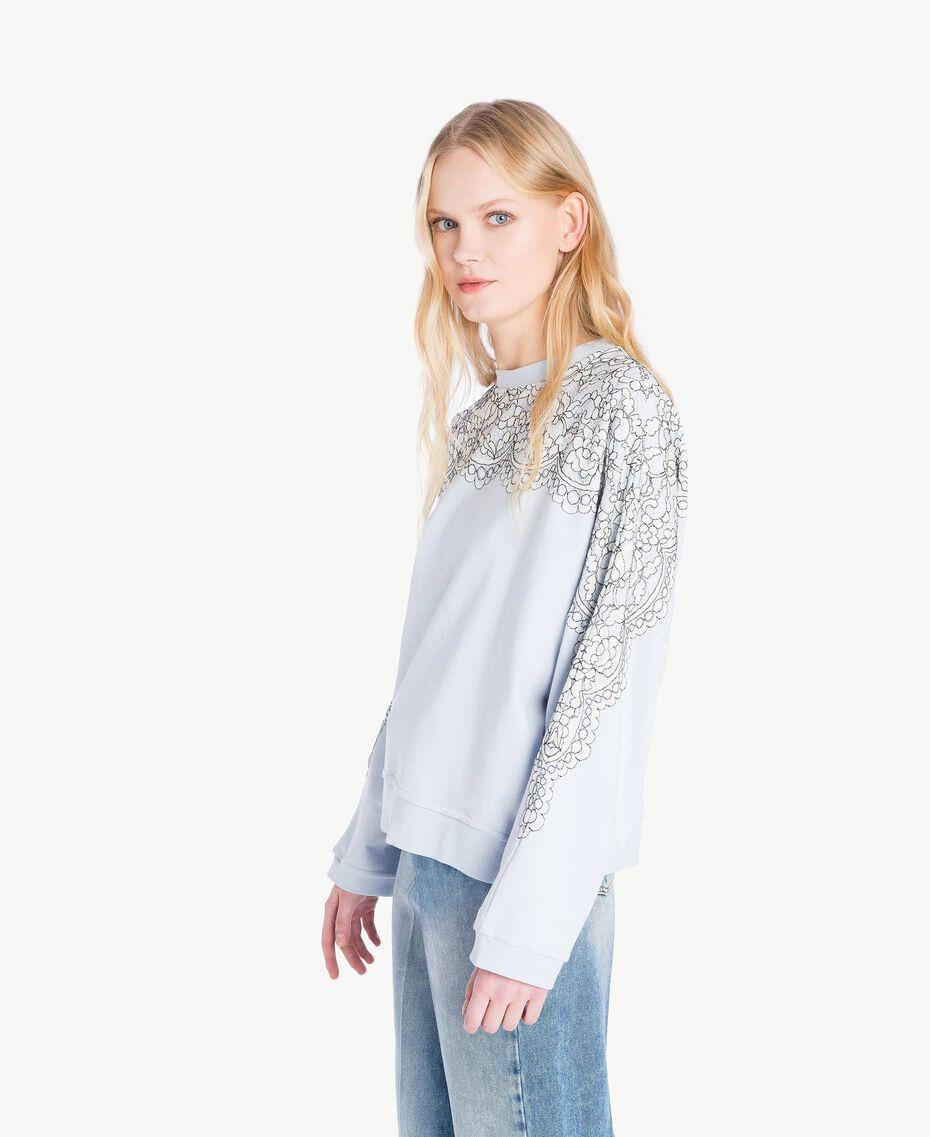 Sweatshirt aus Spitze Topaz Hellblau Frau JS82H1-02