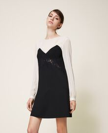 Two-tone dress with lace Two-tone Cream White / Black Woman 202TP2311-05
