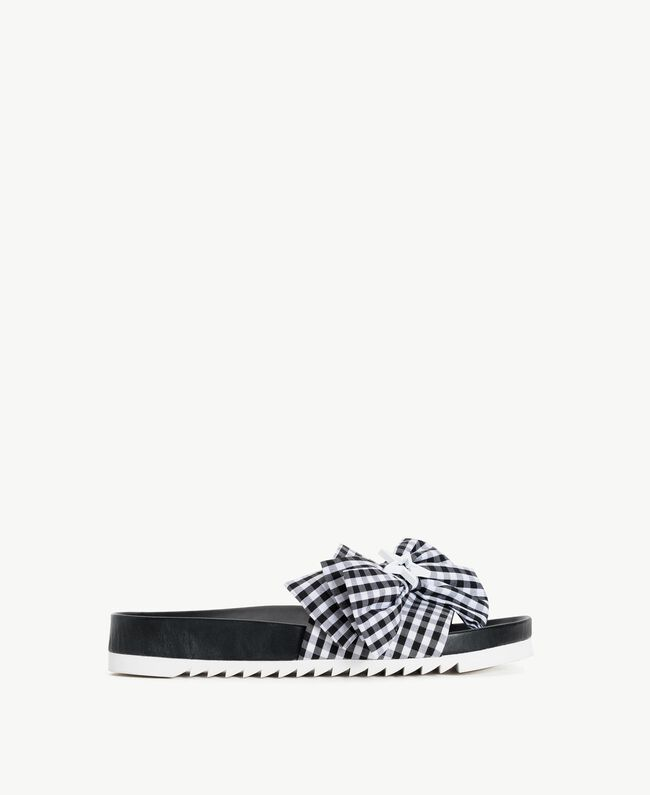 TWINSET Gingham slippers Black Woman DS8PEN-01