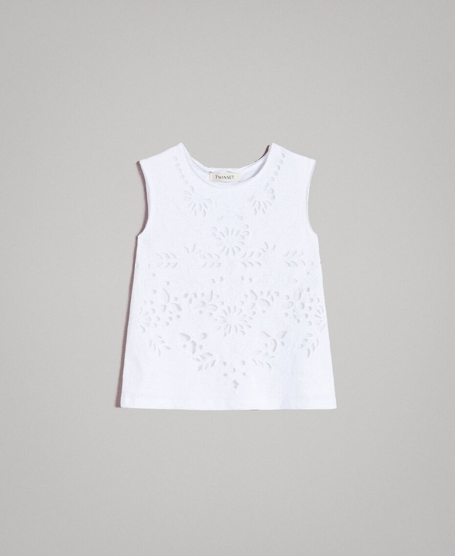 Top in jersey con ricamo sangallo Bianco Bambina 191GJ2690-01