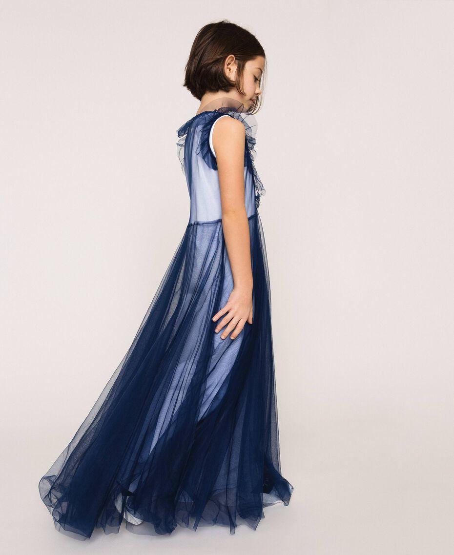 """Langes Kleid aus Tüll mit Volant Zweifarbig Nachtblau / """"Papers""""-Weiß Kind 201GJ2Q50-02"""