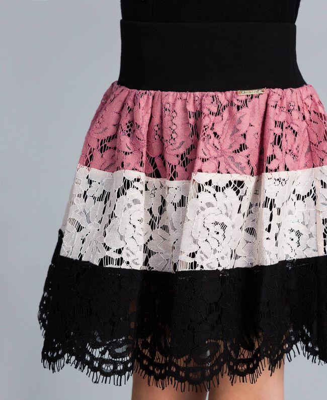 Jupe corolle en dentelle multicolore Multicolore Rose «Blush» / Noir / Roses Enfant GA82QB-04