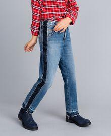 "Slouchy-Jeans mit Kontraststreifen Mittleres ""Denimblau"" Kind GA82VA-03"