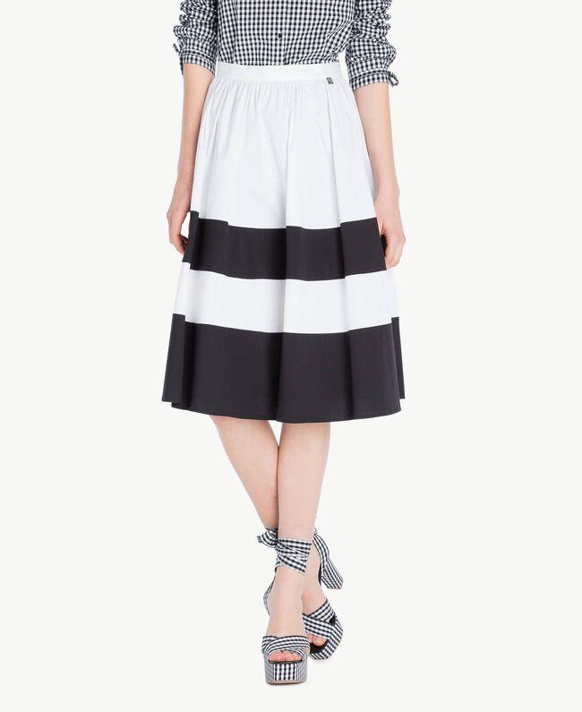Poplin skirt Optical White / Black Woman YS82FD-01