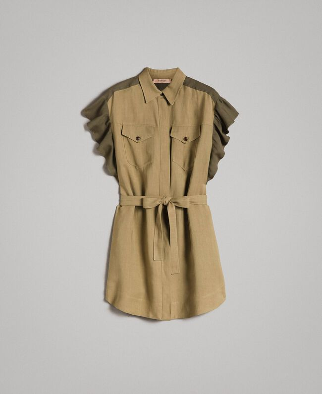 "Natural canvas two-tone shirt dress Two-tone ""Olive"" Green / Antique Bronze Woman 191TT2440-0S"