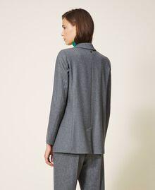 """Wool blend blazer Mottled Gray /""""Lurex"""" Silver Pin Stripe Woman 202TT2170-04"""