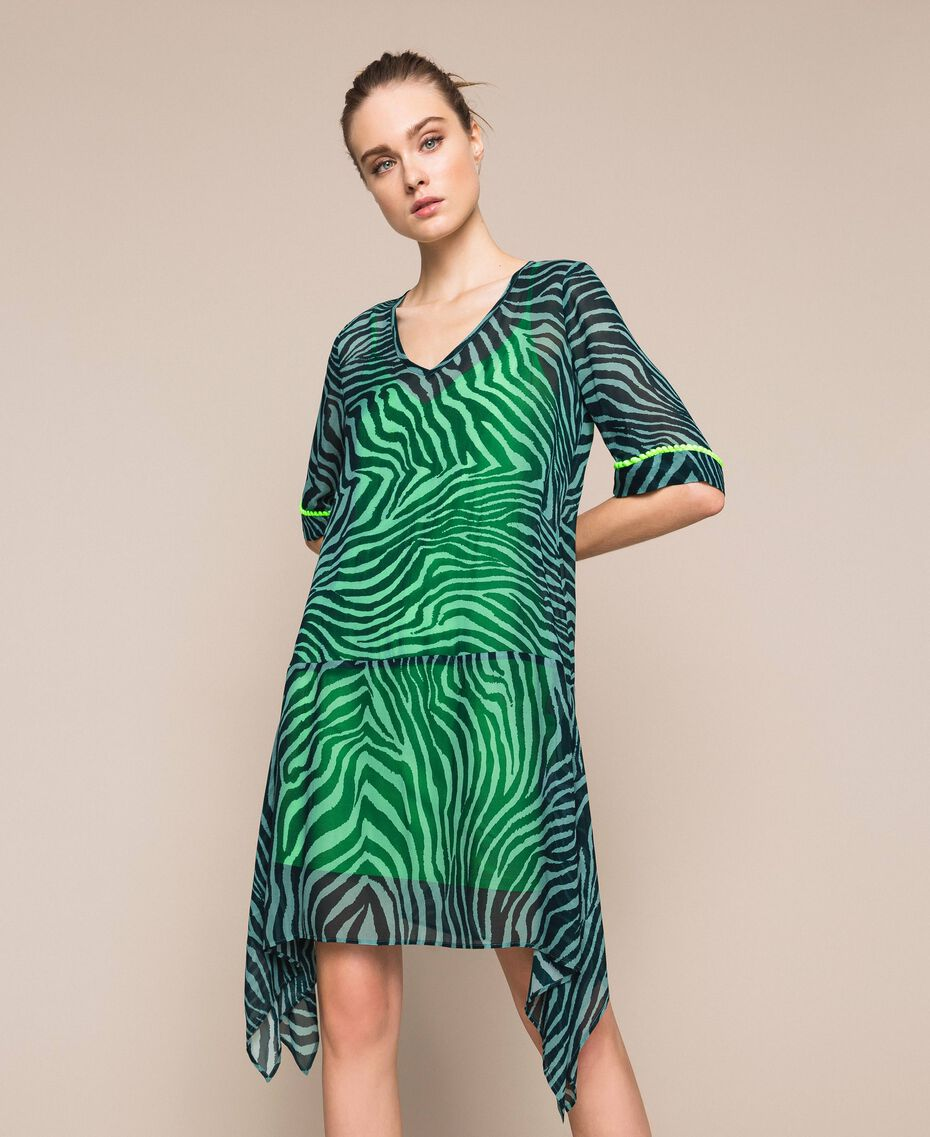 "Georgette animal print dress ""Atlantic Deep"" Green Zebra Print Woman 201LB2GGG-01"