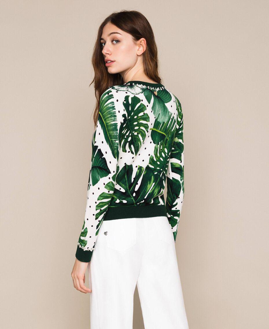 Джемпер с принтом и вышивкой Принт Тропический Горошек Зеленый женщина 201TP3266-03