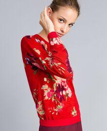 Printed wool mandarin collar top Red Garden Print Woman PA83KD-02