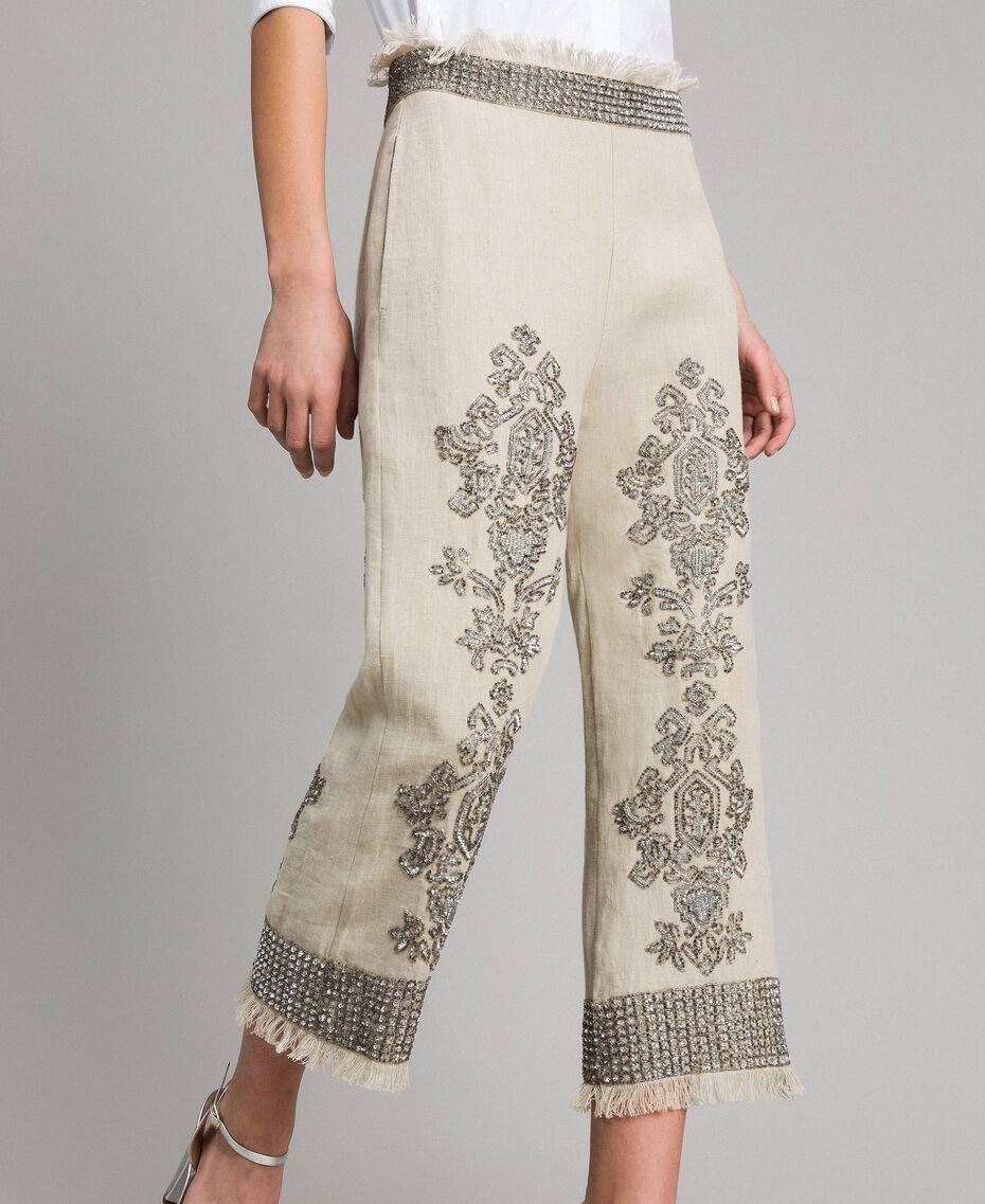 """Pantalon en lin orné de perles et de sequins Beige """"Sable"""" Femme 191TT2061-02"""
