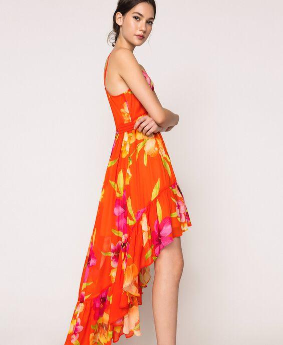 Asymmetrisches Kleid aus Georgette mit Blumendessin