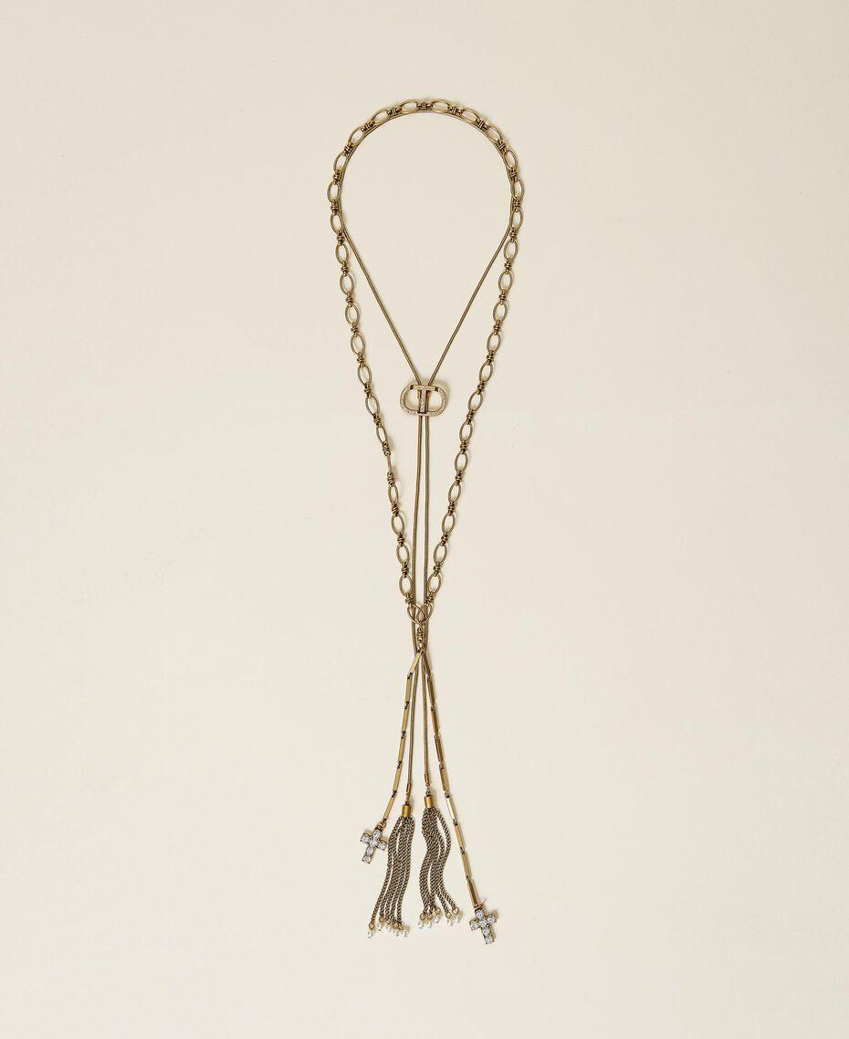 Chocker avec logo et collier avec croix Or «Laiton Vieilli Cuivré» Femme 212TA401C-01