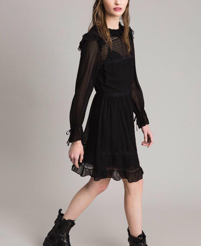 Robe en crêpe georgette et dentelle Noir Femme 191TP2127-03