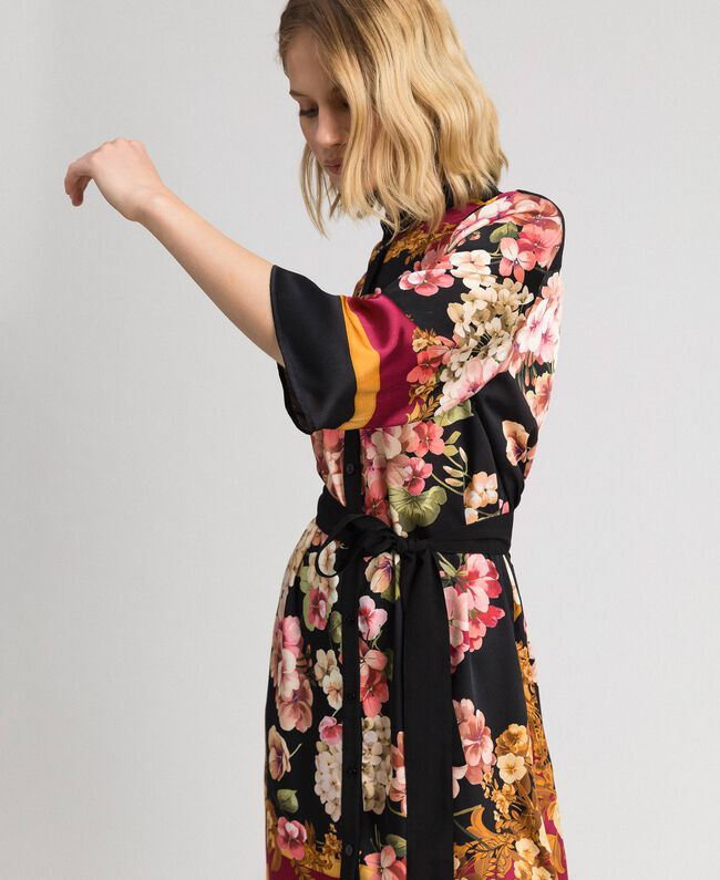 Shirt dress with floral scarf print Placed Scarf Print Woman 192TP2601-04