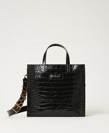 Bolso shopper Twinset Bag mediano de piel Estampado Coco Negro Mujer 202TB7113-01