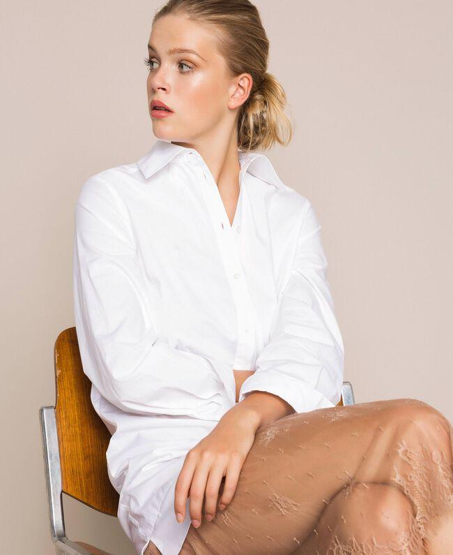 Платье-рубашка из поплина и кружева Двухцветный Белый Оптический / Светло-коричневый женщина 201ST2028-0T