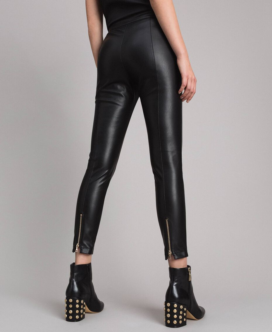 Faux leather skinny trousers Black Woman 191MP2260-01
