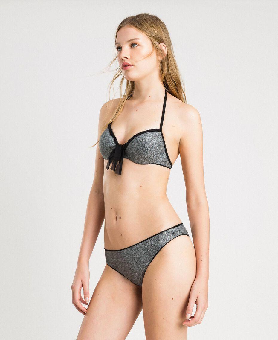 Haut de bikini push-up pailleté avec un nœud Noir Femme 191LBM344-0S
