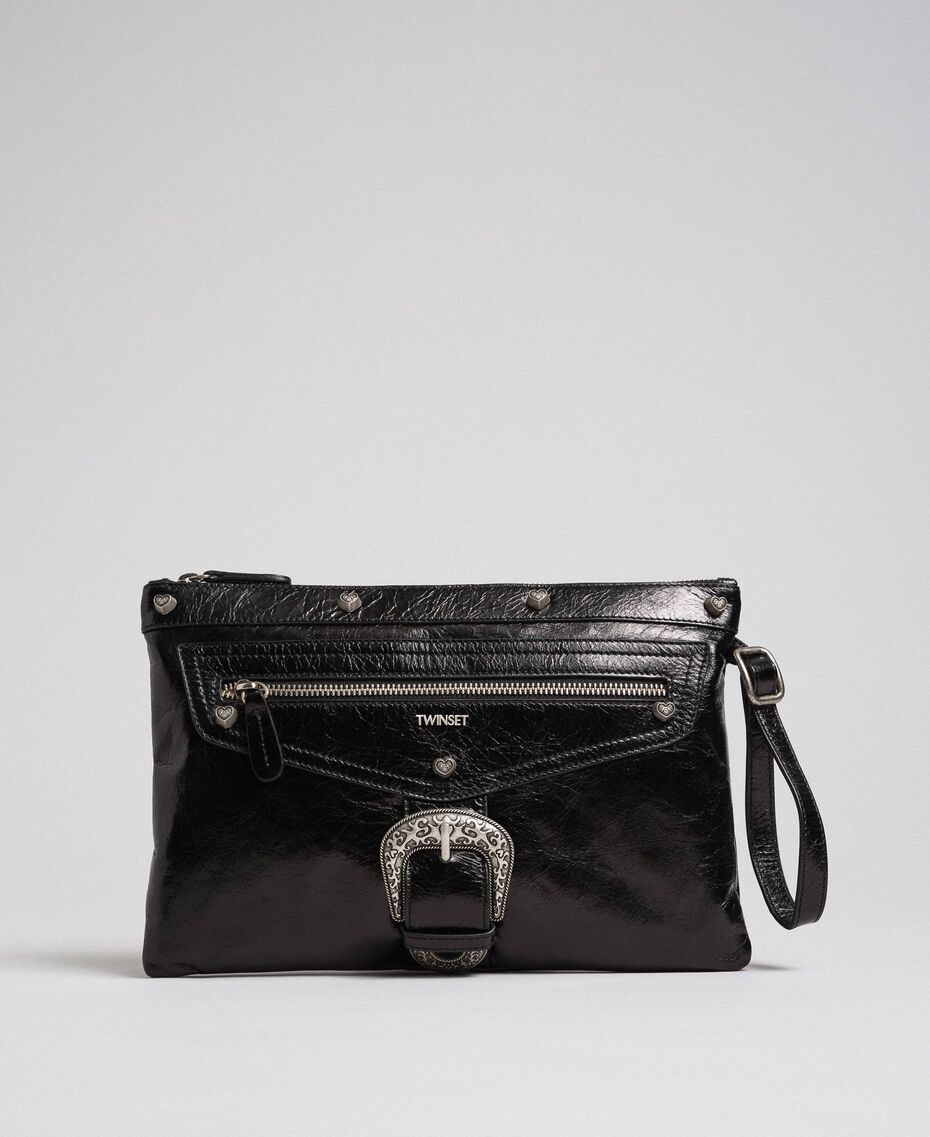 Leather pochette with decorative buckle Black Woman 192TO823H-02