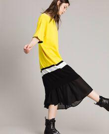 "Long dress with slip Two-tone ""Freesia"" Yellow / Black Woman 191MP3053-02"