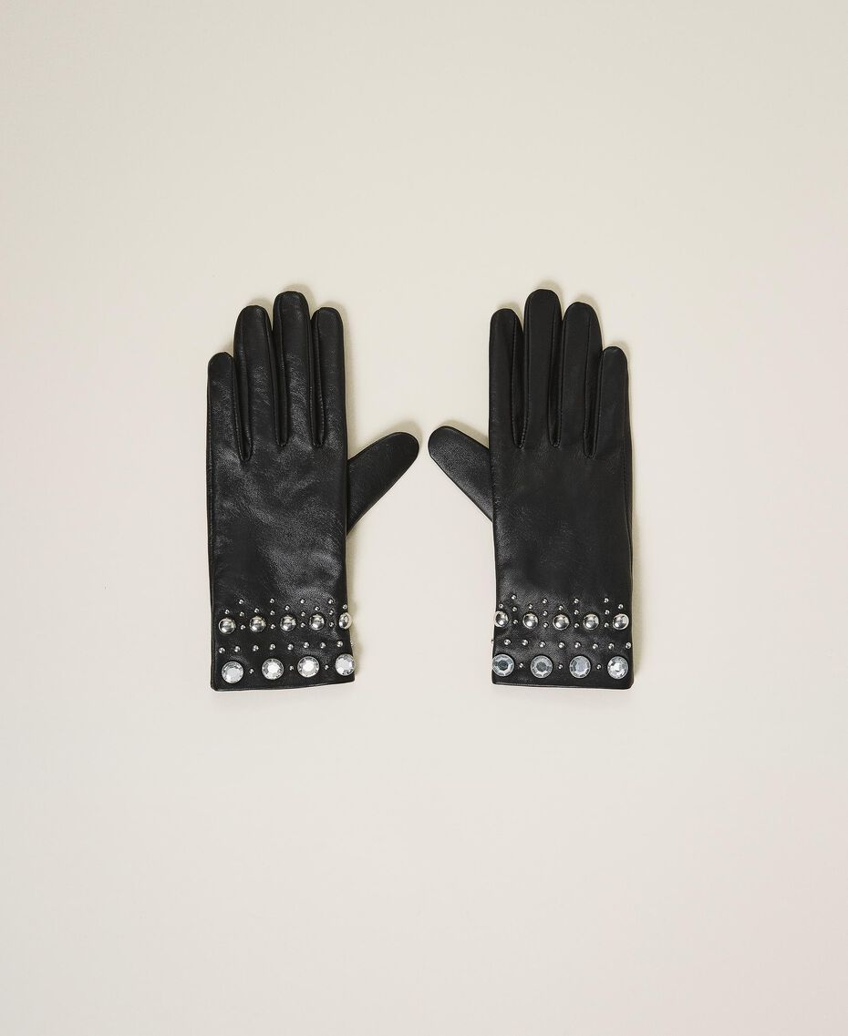 Leather gloves with studs and bezels Black Woman 202TA4351-01