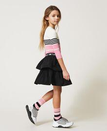 "Colour block ribbed jumper ""Off White"" / Black / ""Rose Bloom"" Pink Multicolour Child 211GJ3500-02"