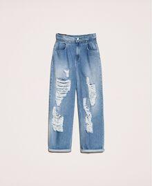 Jeans loose fit con rotture Denim Blue Donna 201MT2344-0S