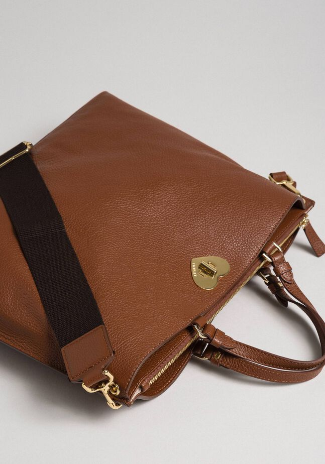 Large leather shopping bag with shoulder strap