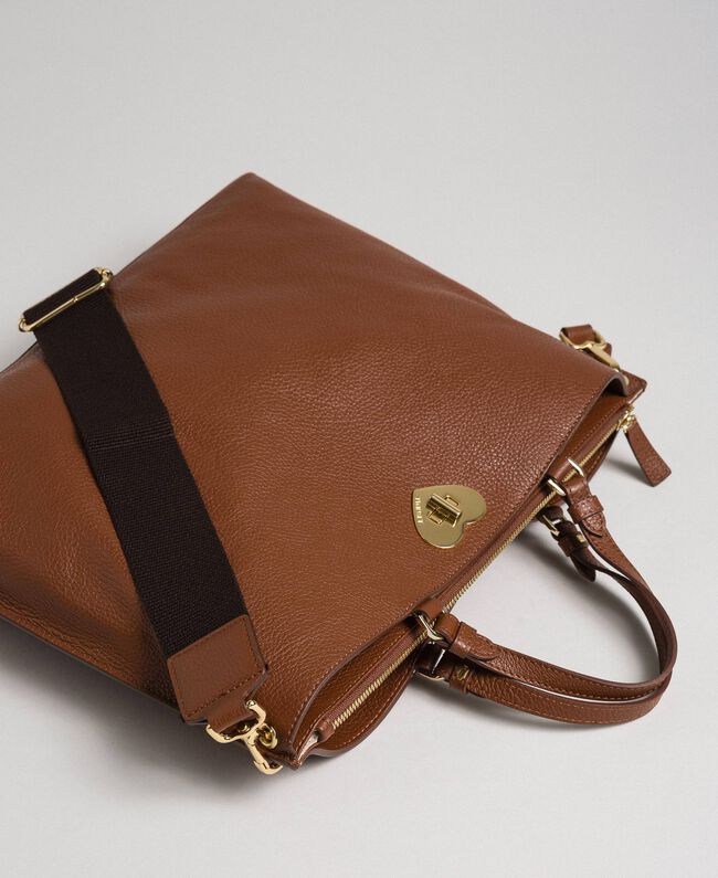 Large leather shopping bag with shoulder strap Leather Brown Woman 192TO8090-01