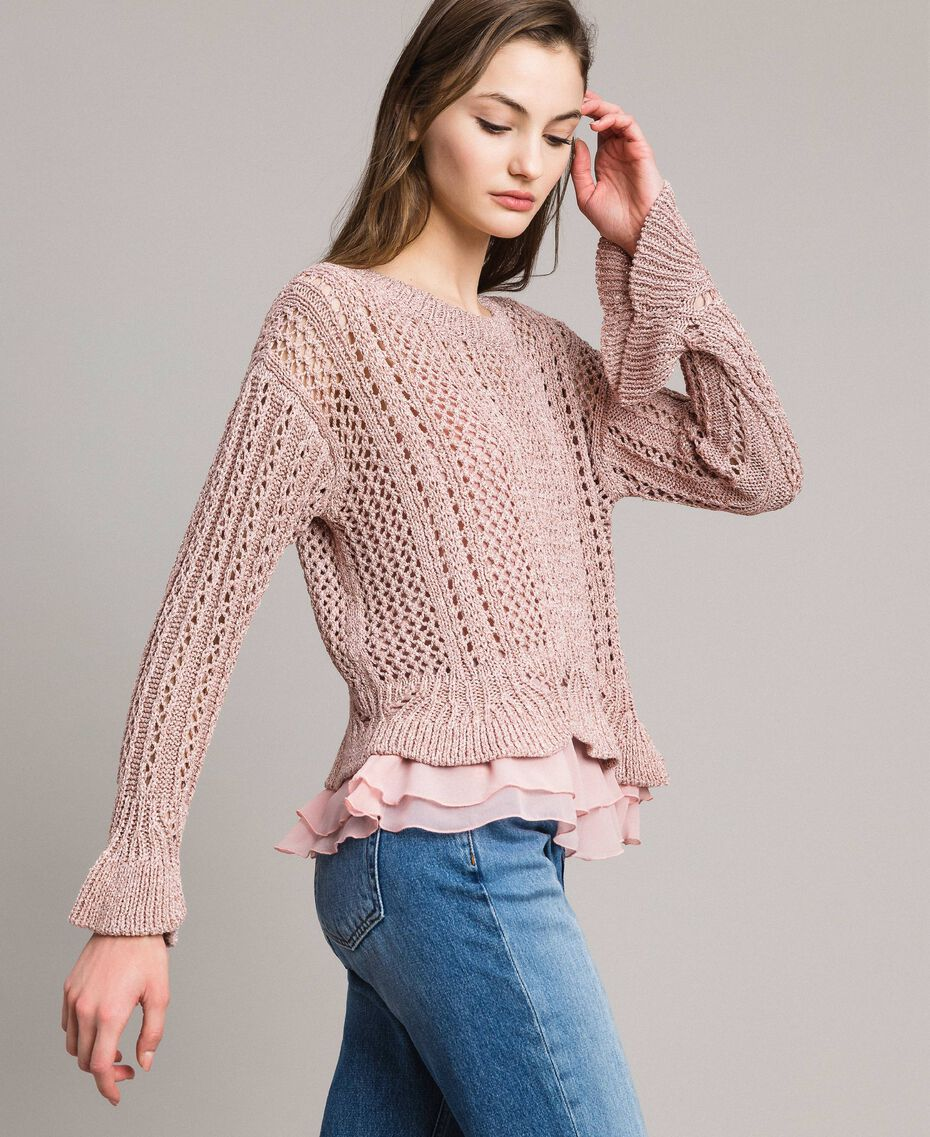 Pull en lurex point dentelle Lurex Rose Perle Femme 191TP3351-02