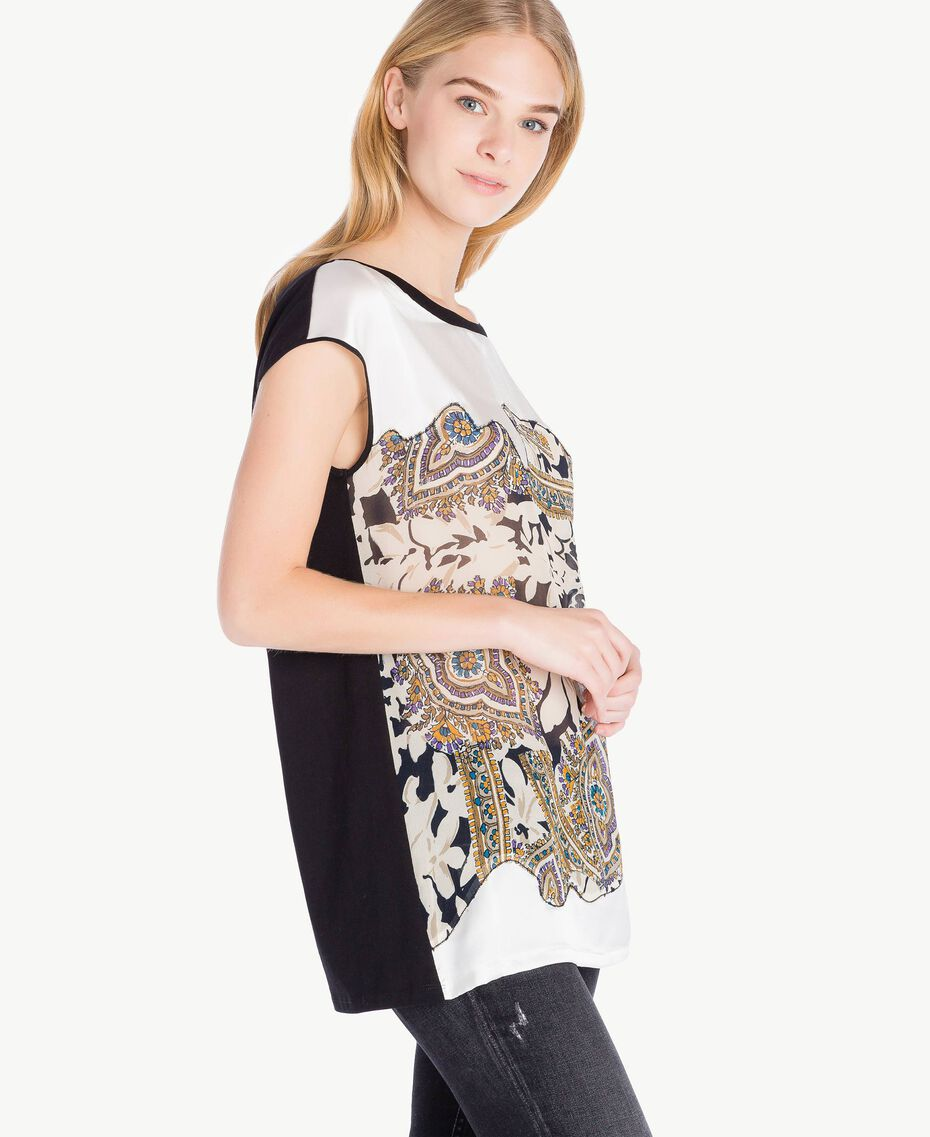 Maxi-T-Shirt mit Rosen Arabeskenprint PA724D-02