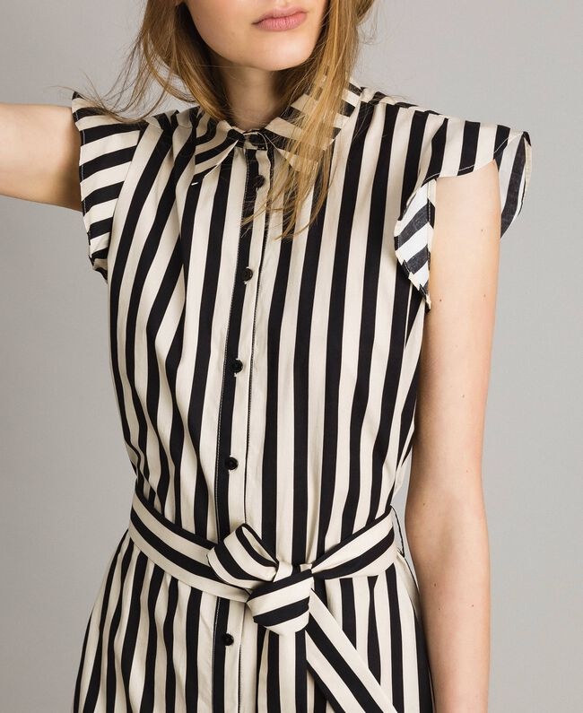 "Poplin striped shirt dress ""Marzipan"" Beige / Black Striped Print Woman 191TT2282-04"