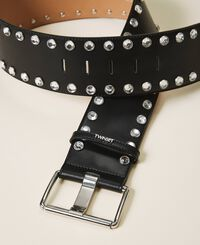 Leather belt with bezels and logo