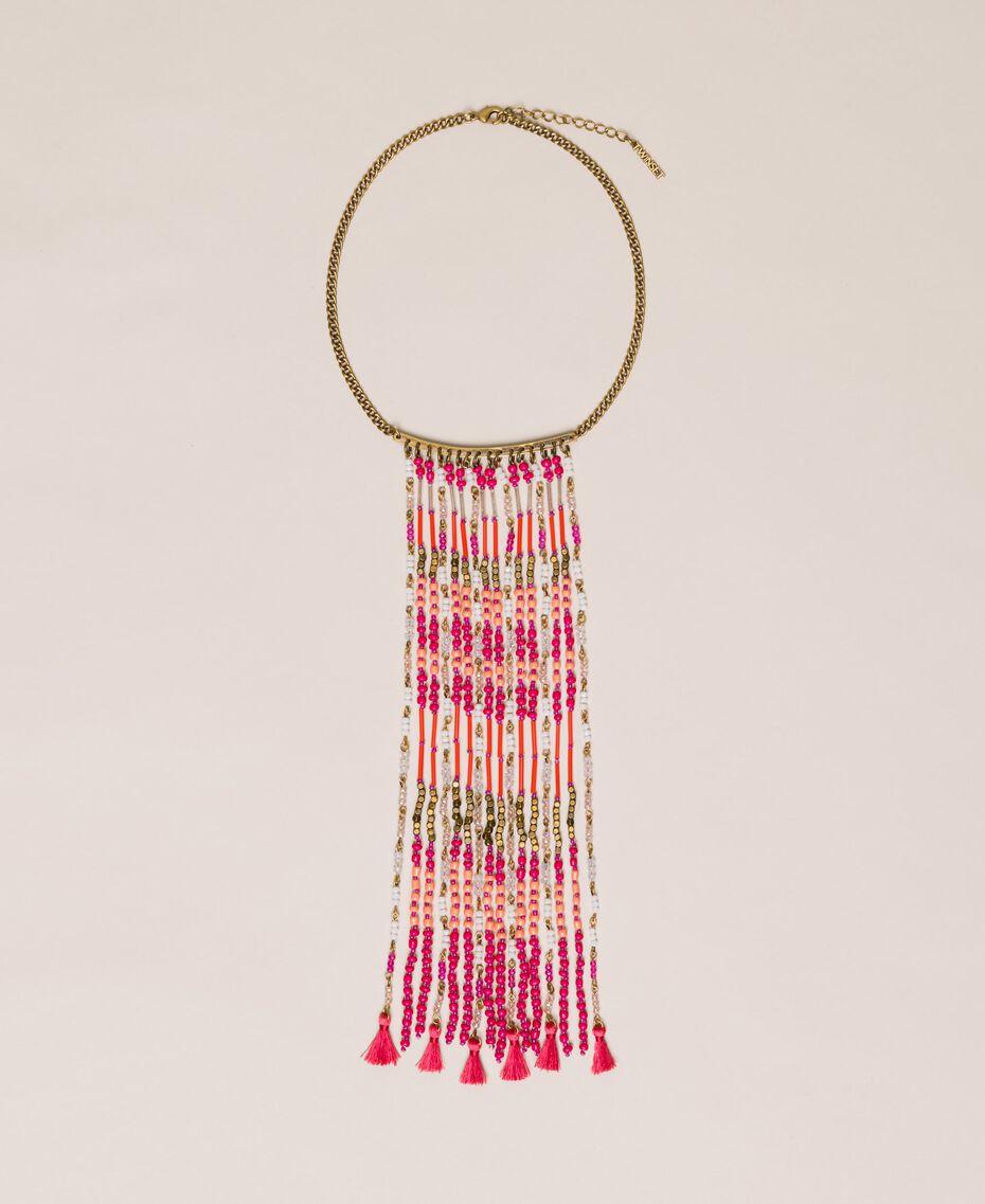 Collier avec perles en cascade et pompons Multicolore Perles Jazz Femme 201TO530F-01
