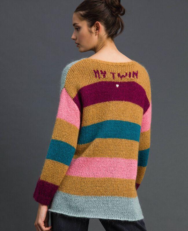 Maxi jumper with multicolour stripes Irish Cream Hazelnut Woman 192MP3221-03