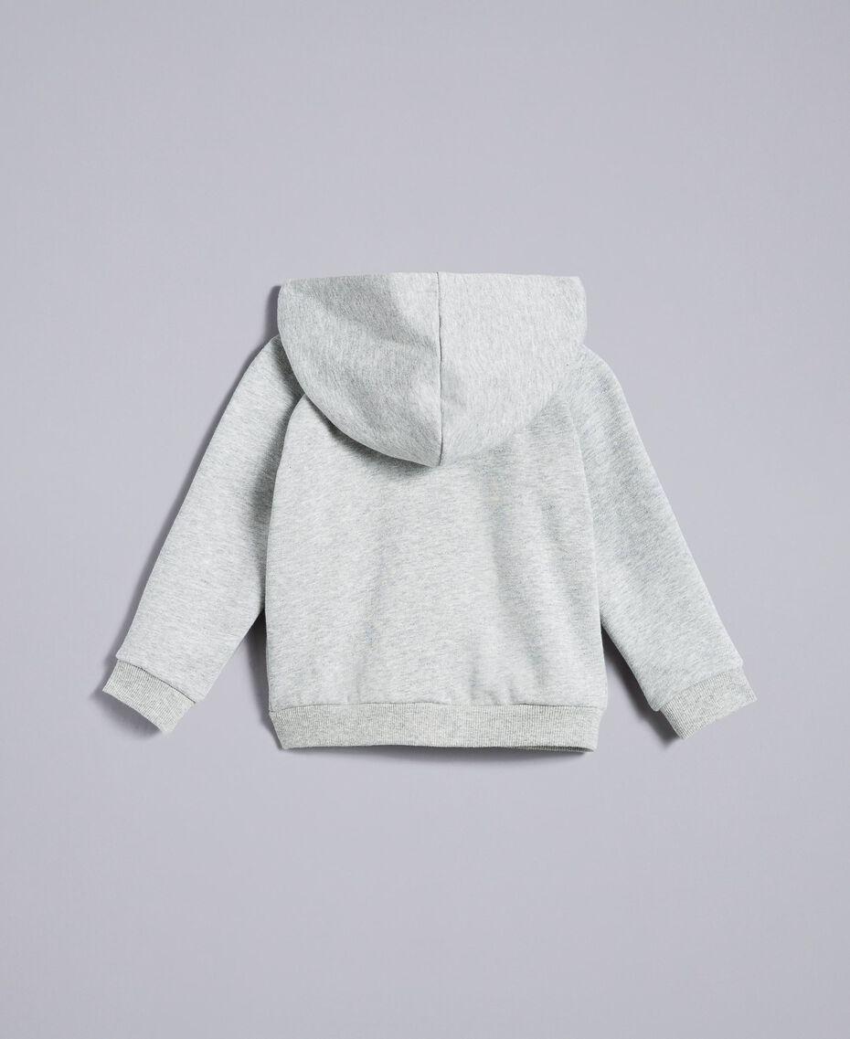 Sweat en coton avec perles et strass Gris clair chiné Enfant FA82V2-0S